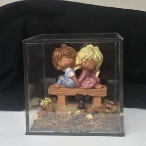 Clear Square Shadow Enclosed Figurines  Rare Find